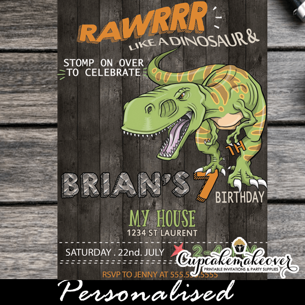 Jurassic World T Rex Dinosaur Birthday Invitations Printable Cool Party Invites 3d