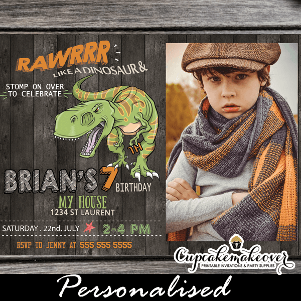 Jurassic World T Rex Dinosaur Birthday Invitations With Photo Printable Cool Party Invites 3d