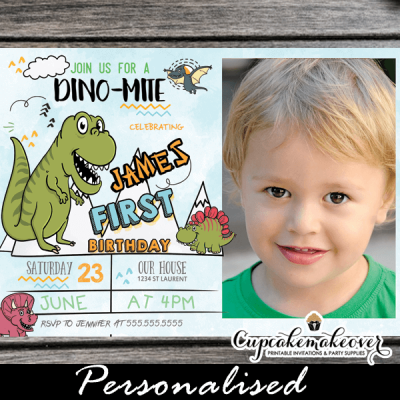 cute dino-mite party invites little dinosaur first birthday invitations with photo 1st one 2nd year old toddlers