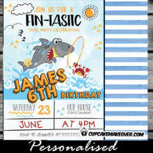fintastic shark birthday party invitation cute fun pool doodles