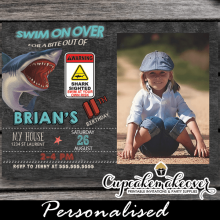 bite attack shark photo birthday invitations boy cool summer invites pool water theme
