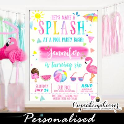 Splash Flamingo Pool Party Invitations Girls Pink Swimming Water Bash Fun Tropical Summer