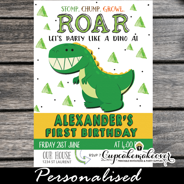 Cute Dino Party Invites Little Dinosaur First Birthday Invitations 1st One 2nd Year Old