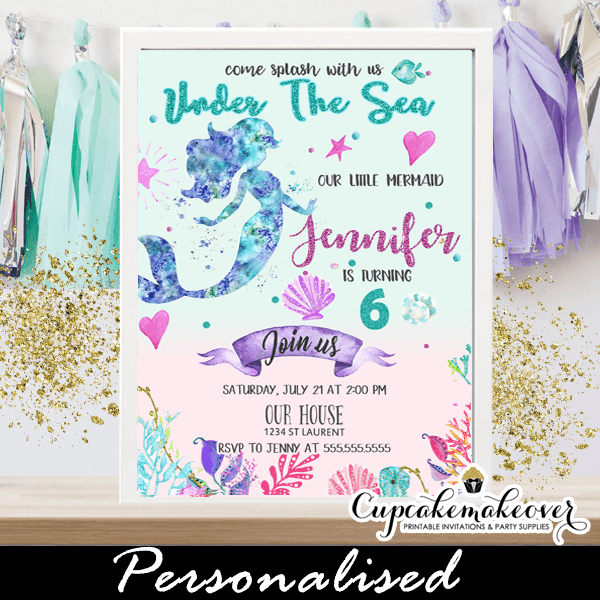 Mermaid Birthday Invitations Under The Sea Theme Pink Turquoise Purple Ocean Shell