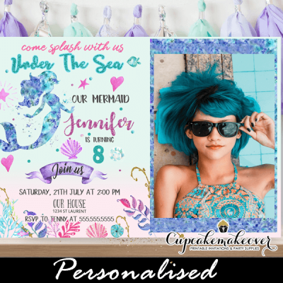 mermaid birthday invitations with picture under the sea theme pink turquoise purple ocean sea shell little girl
