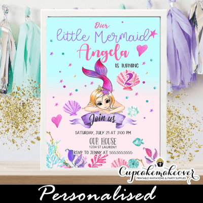 mermaid birthday party invitations girl pink purple turquoise under the sea shells coral