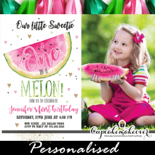 little sweetie one in a melon invitations watermelon party ideas green pink 1, 2, 3, year old girls