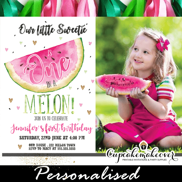Little Sweetie One In A Melon Invitations Watermelon Party Ideas Green Pink 1 2