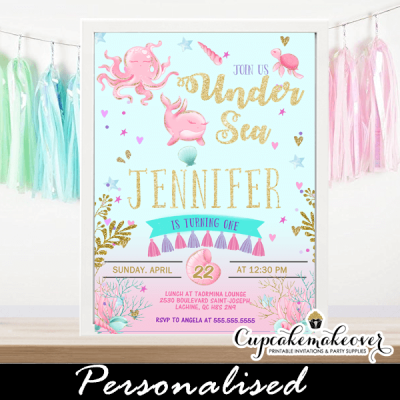 pink gold purple under the sea birthday invitations girl party ideas 1 2 3 4 year old