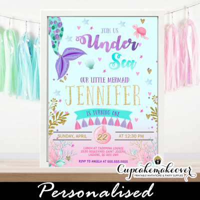 mermaid tail invites birthday party invitations pink purple tassel garland under the sea