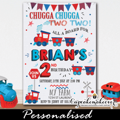 red blue choo choo train birthday invitations 1st 2nd toddler cute toys