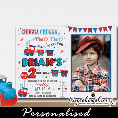 red blue choo choo train birthday photo invitations 1 2 3 year toddler cute toys