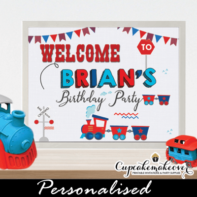 1 2 3 year old toddler train birthday sign welcome personalized
