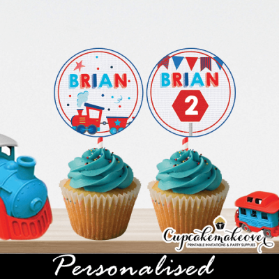 red blue choo choo train cupcake toppers tags 1 2 3 year old boy birthday