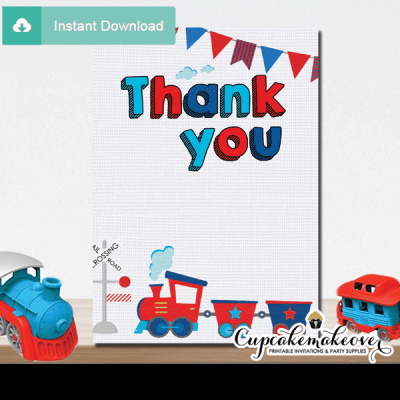 red blue choo choo train thank you cards toddler 1 2 3 year old boy
