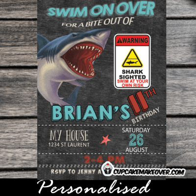 bite attack shark birthday invitations boy cool summer invites pool water theme