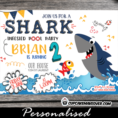 shark pool party invitations swimming boys water summer theme