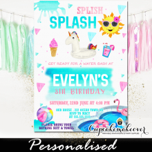 unicorn pool party invitations summer splish splash ideas girls birthday