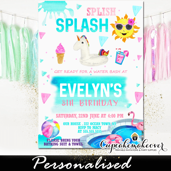 splish splash unicorn pool party invitations girls cupcakemakeover
