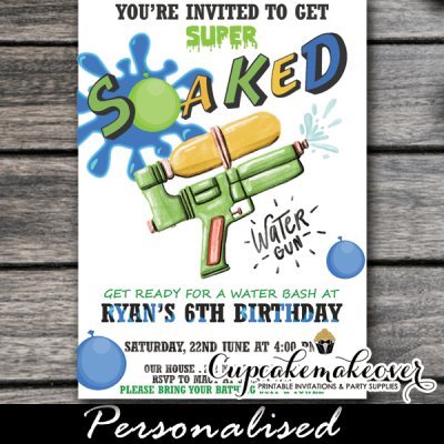 water bash super soaked water gun invitations boys blue green yellow summer fun