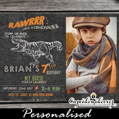 jurassic t-rex dinosaur birthday invitations with photo printable cool party invites