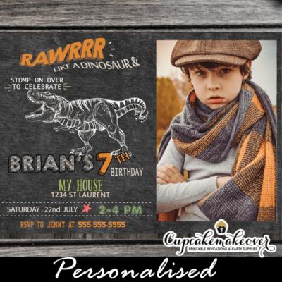 jurassic t-rex dinosaur birthday invitations with photo printable cool party invites
