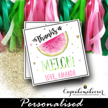 custom thanks a melon watermelon thank you tags square labels hearts pink gold green
