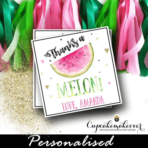 One In A Melon Thank You Tags Watermelon Party Ideas