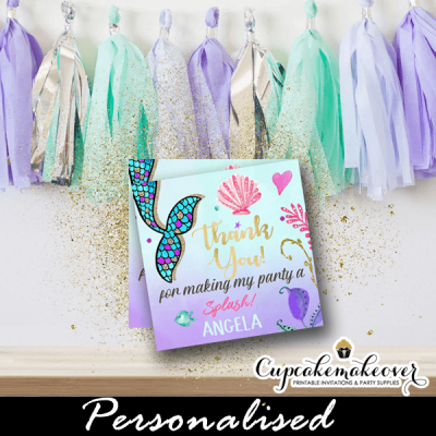 under the sea mermaid favor tags tail personalized pink purple turquoise gold