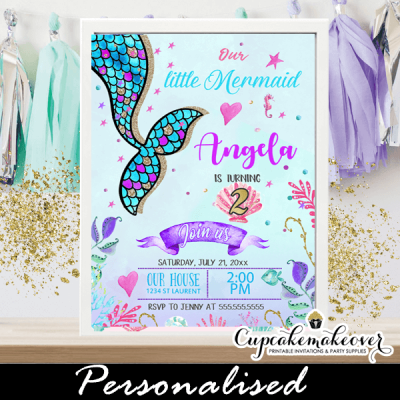 scalloped tail mermaid birthday party invitations under the sea theme pink turquoise purple ocean sea shell