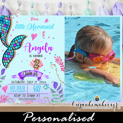 scalloped tail mermaid birthday party invitations with picture under the sea theme pink turquoise purple ocean sea shell