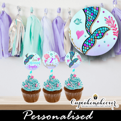 personalized mermaid cupcake toppers diy printable scalloped pastel under the sea