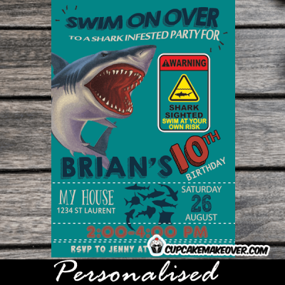under the sea clear blue water shark infested party invites summer invitations boy