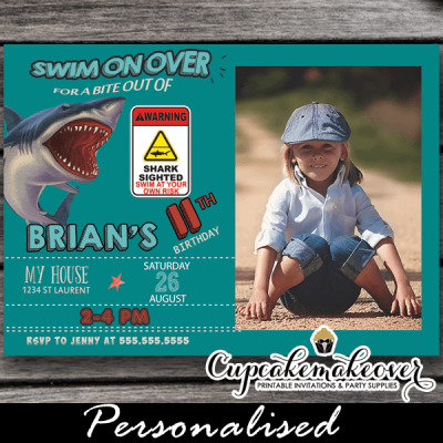 jaws bite attack shark photo birthday invitations boy cool summer invites pool water theme