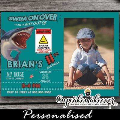 jaws bite attack shark photo birthday invitations boy cool summer invites pool water theme