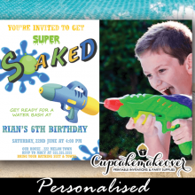 water fight party invitations with photo squirt gun boys summer birthday invites
