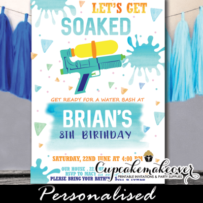watercolor water gun birthday party invitations boys summer invites fun