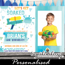 watercolor blue water gun birthday party invitations with photo boys summer invites fun