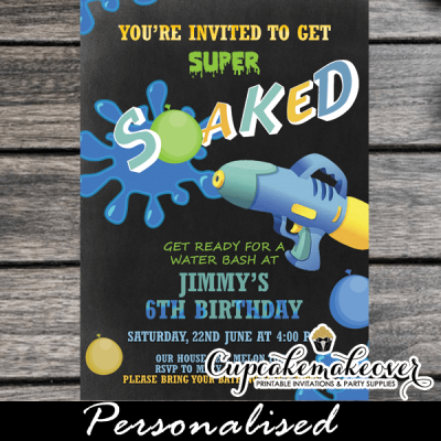 fun summer blue squirt water gun party invitations chalkboard pool bash