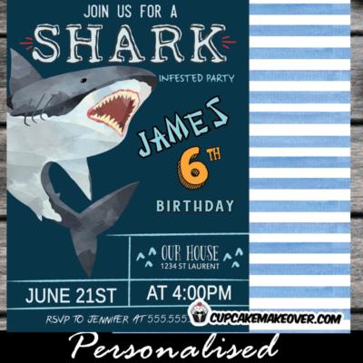 watercolor navy blue shark themed birthday invitations boy