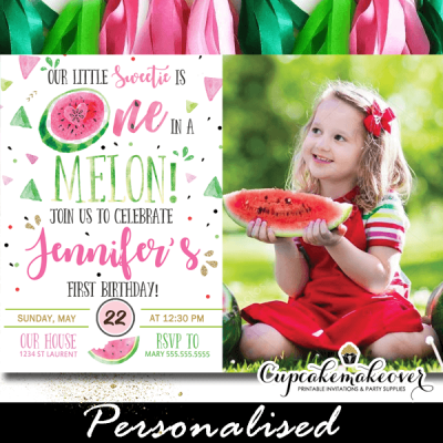 watermelon first birthday invitations photo one in a melon invites green pink gold template