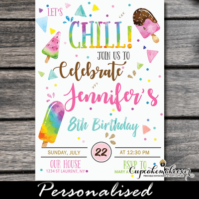 Let's chill popsicle party invitations ice cream birthday theme ideas girls