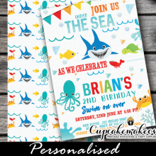 happy creatures under the sea birthday invitations boys 1st one year old party ideas