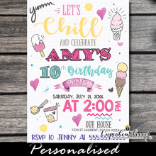 lets chill ice cream birthday invitations social scoop cone sundae summer party girls