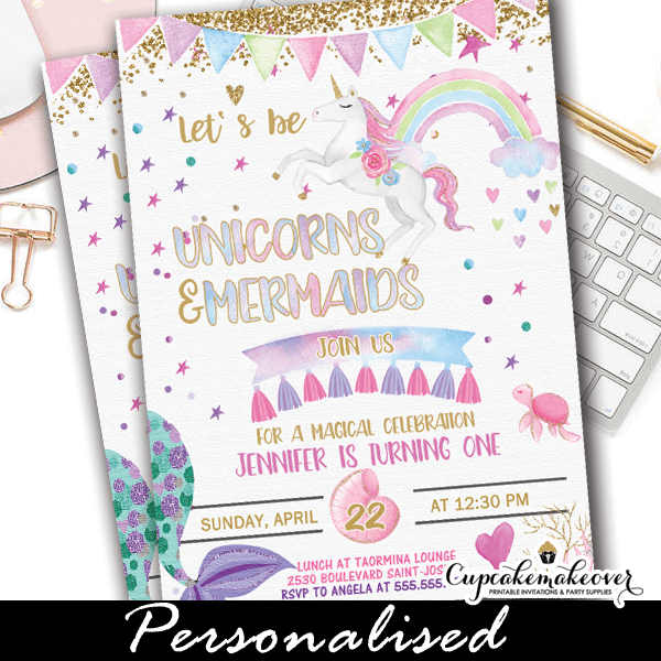 Mermaid And Unicorn Invitations Rainbow Bunting Gold Glitter Pasterl Watercolor Birthday Party Ideas Diy Girls