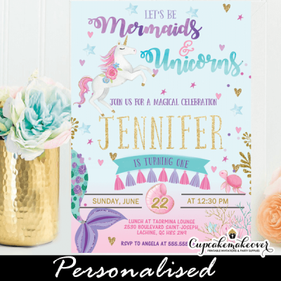 mermaid and unicorn invitations pink ombre pasterl watercolor birthday party ideas diy girls