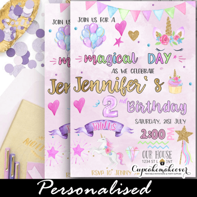 pastel magical unicorn invitations diy birthday party girls