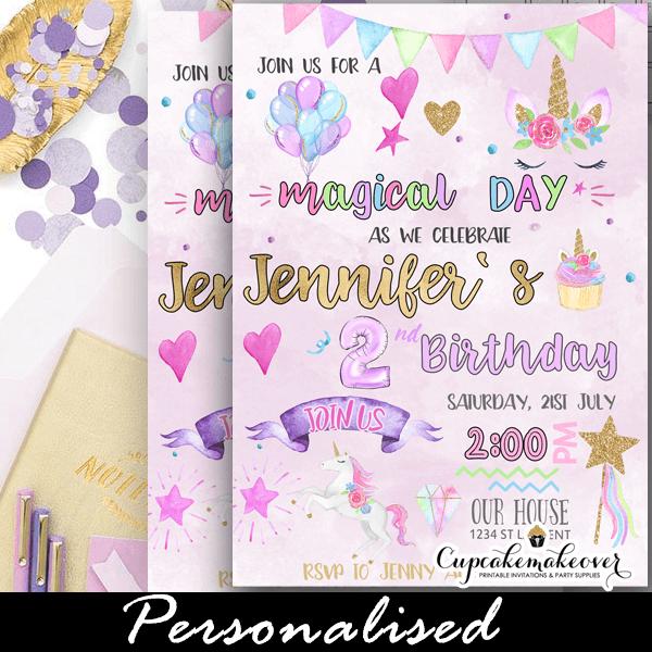 Pastel Magical Unicorn Invitations Diy Birthday Party Girls
