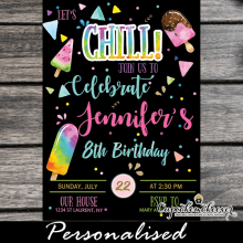 lets chill popsicle party invitations summer ice cream birthday theme rainbow black girls neon colors