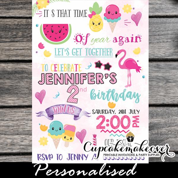 Printable Fun Summer Fruit Flamingo Birthday Invitations Girls Ice Cream Party Ideas